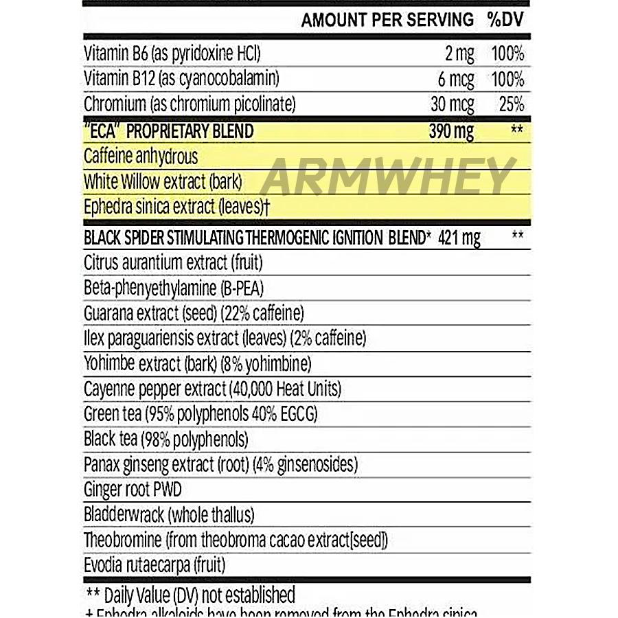 Cloma Pharma, Black Spider 25 Ephedra, 100 caps