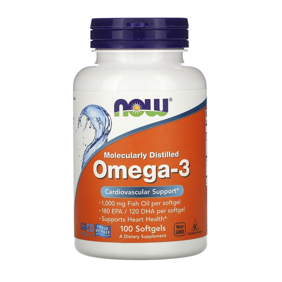 Now foods, Омега 3, 1000 mg, 100 caps
