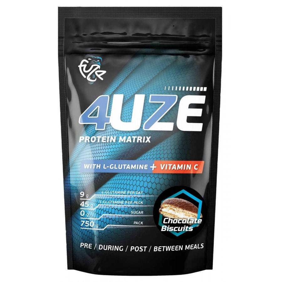 Протеин 4uze Glutamine + Vitamin C, шоколадное печенье, 750 г