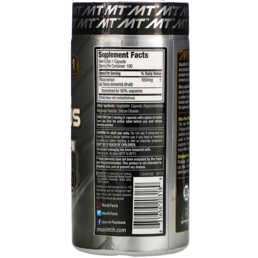 Muscletech, Platinum, 100% Tribulus, 650 мг, 100 капсул