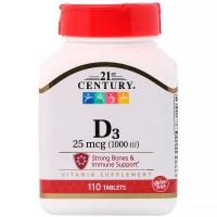 21st Century, Vitamin D3, 1000 IU, 110 таблеток