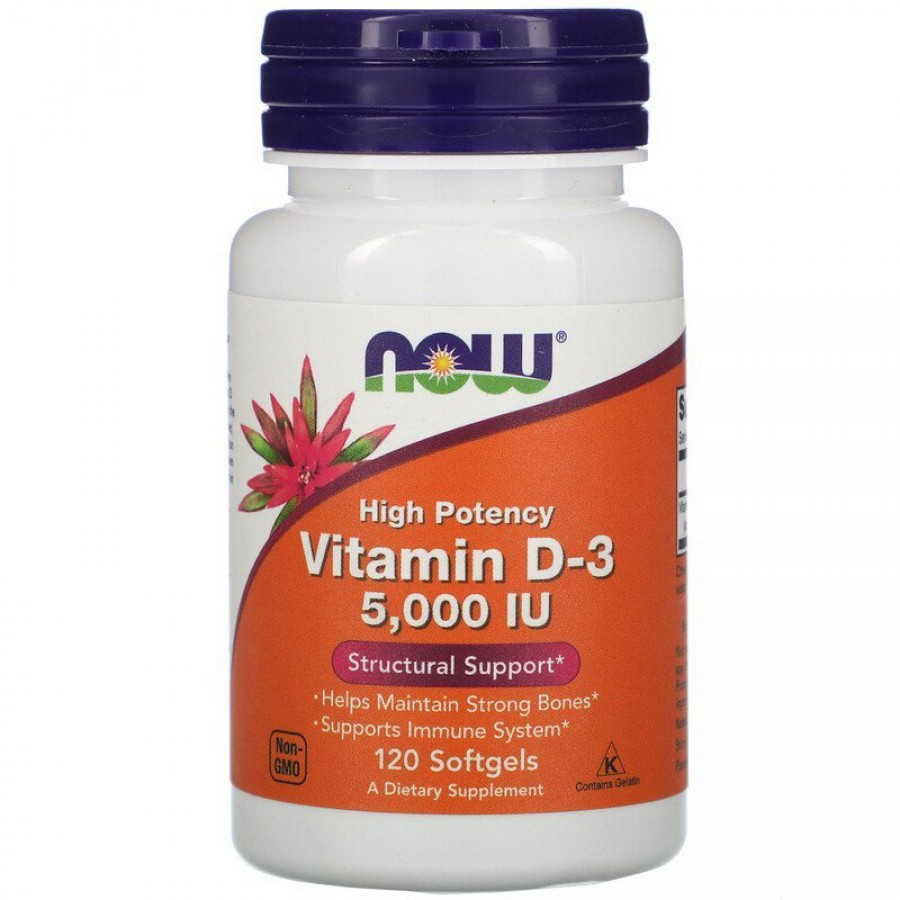 Now Foods Vitamin D3, 5000 IU, 120 капсул