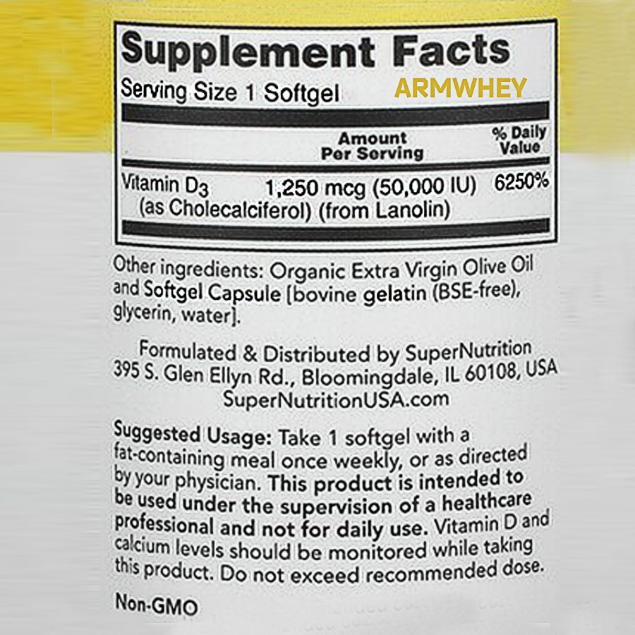 Vitamin D3, 50,000 IU, 50 капсул